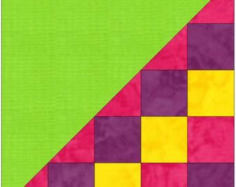 Half Checkerboard 5 Paper Piece Templates Quilting Block Pattern PDF