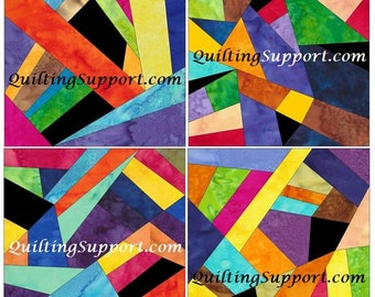 Complex Crazy Patch Set 2 Paper Foundation Piecing Quilting 4 Block Patterns PDF