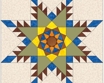 Feathered Sunflower Star Paper Piece Template Quilting Block Pattern PDF