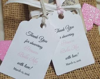 """Personalized Favor Tags 2.5""""Lx1.8, Baby Girl Shower  tags, Thank You tags, Favor tags, Gift tags, baby shower, princess, showering with love"""