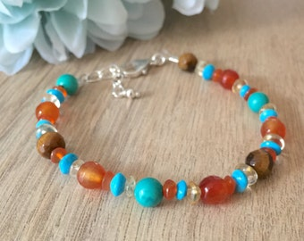 Bright gemstone bracelet, turquoise carnelian citrine tiger eye gemstone bracelet