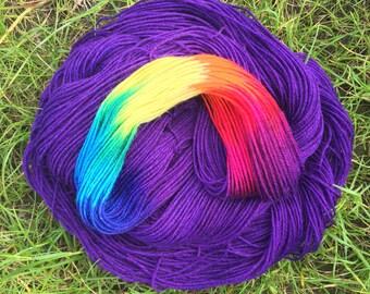 Indigo Skies Rainbow, indie dyed sock 80/20 merino wool nylon blend yarn