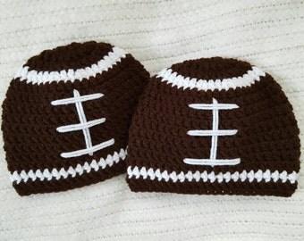 Crochet football baby beanies, twin baby gift, crochet baby hats, twin boy hats, newborn photo prop, 0-3 month twin boys