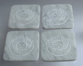 Natural Marble stone coasters hand carved fantasy design home decoration gift idea