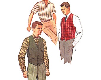 Simplicity Sewing Pattern 3547 Men's Shirt, Vest - estimated vintage 1950  Size:  36 or 40  Used