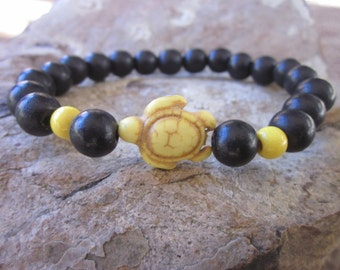 Turtle bracelet black wooden beads yellow stone sea turtle stacking bohemian yoga zen beach accessories mens / women's stretch bracelet