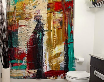 San Francisco Street Printed Shower Curtain, Bathroom Decor, Home, Abstract, Modern Art, Abstract, Knife Painting, Colorful, Paint Splatter