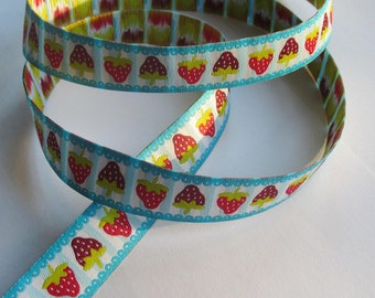 Woven Ribbon 16 mm - Strawberry/blue