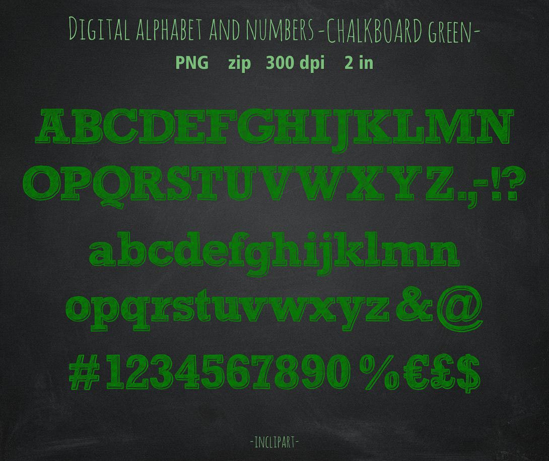 Green chalk numbers letters symbols clip art chalkboard this is a digital file biocorpaavc Choice Image