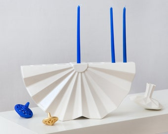 Origami Menorah, Hanukkah Menorah, modern geometric Judaica, White ceramic Hanukya, Contemporary Judaica, Chanukah gift, Jewish wedding gift
