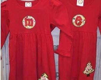 Christmas Tree Applique Dress w/Monogram