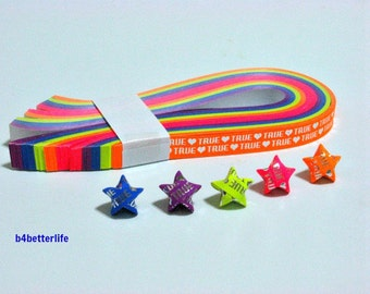 """Pack of 200 Strips Mini Size Luminous Hot-Stamping Lucky Stars Origami Paper Kits. """"True Love"""" 24.5cm x 1.0cm. #HS108. (HS paper series)."""