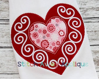 Fancy Heart Valentines Machine Applique Design
