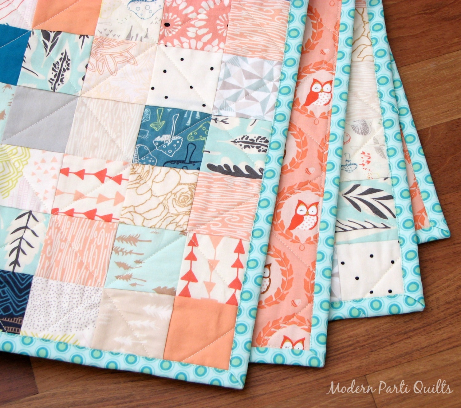 Baby Gift Quilt : Patchwork baby quilt owl shower gift