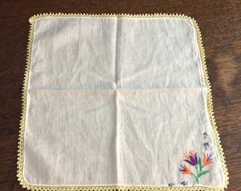 Vintage Handkerchief yellow trim