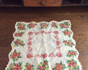 Vintage Handkerchief/ Red Roses