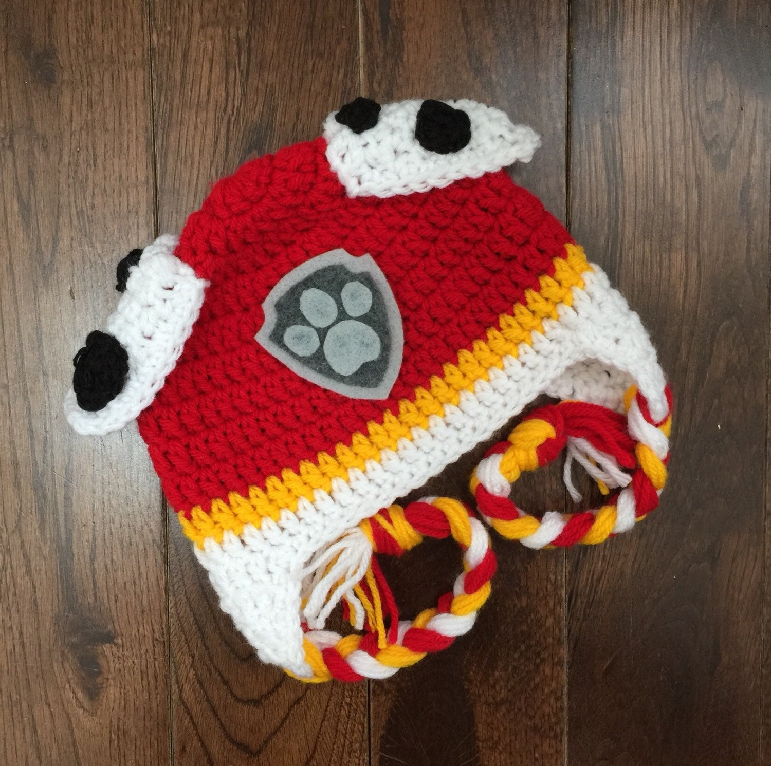 Crochet Hat Pattern Paw Patrol : Marshall Paw Patrol Crochet Character Hats Dog Hat Made to