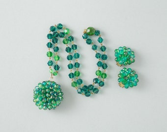 Vintage West Germany Beaded Necklace and Earrings Green