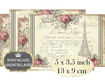 Shabby Chic Paris French Cards Eiffel Tower Maison Instant Download digital collage sheet P123