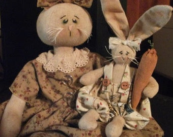 Primitive Folk Art Mamma Bunny Rabbit and Baby Doll - Spring Easter Dolls