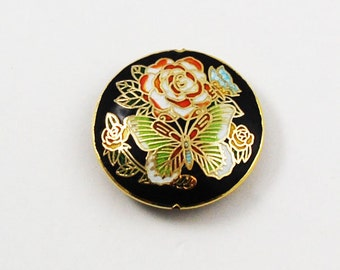 Black Cloisonne Pendant Vintage Chinese Floral