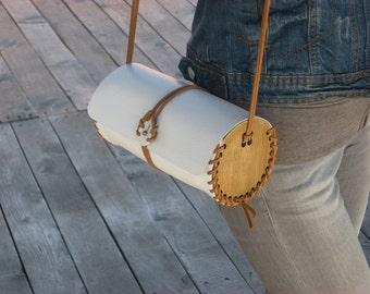 Handmade modern leather - wood cylinder shaped purse / ready to ship