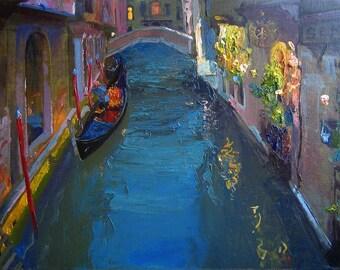 Venice at dusk - Original oil painting  - Fine art 45 x 70  cm