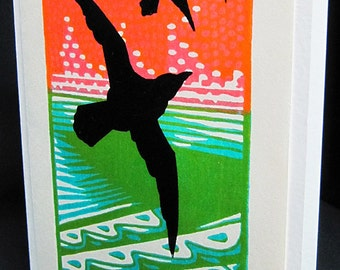 Hand pulled, woodblock printed greeting card, 'Flight'.