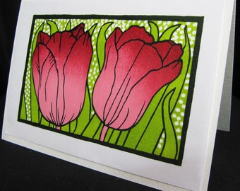 Hand pulled, woodblock printed greeting card, 'Red Tulips'.