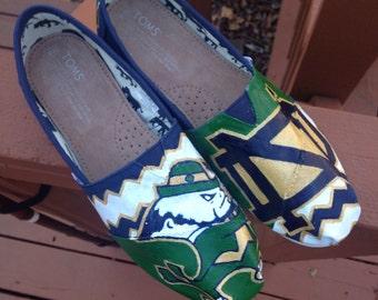 Notre Dame Chevron-- Custom Painted Toms