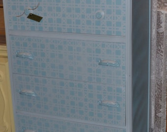 Painted Dresser / Blue Gray Bedroom Set Childs Nursery whimsical bedroom