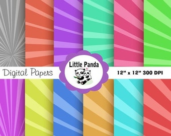 70% OFF SALE Sun Rays Digital Paper Pack, Scrapbook Papers, 12 jpg files 12 x 12 - Instant Download - D102
