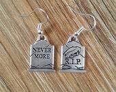 Raven Nevermore Tombstone Earrings, Edgar Allan Poe, Halloween