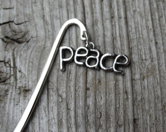 Bookmark, Silver Bookmark, Peace Charm, Book Accessories, Bookmarker, Peace on Earth, Peace Bookmark,  Gift For An Avid Reader, 3.5""