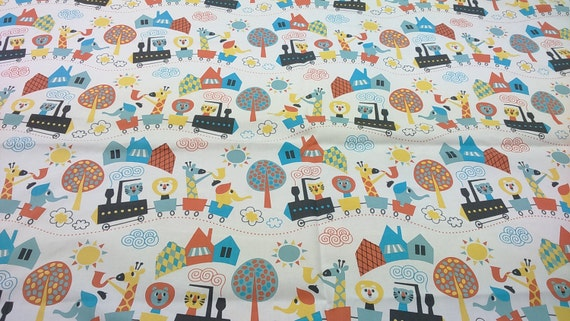 Fabric white yellow blue fun animals trains trees modern for Modern kids fabric