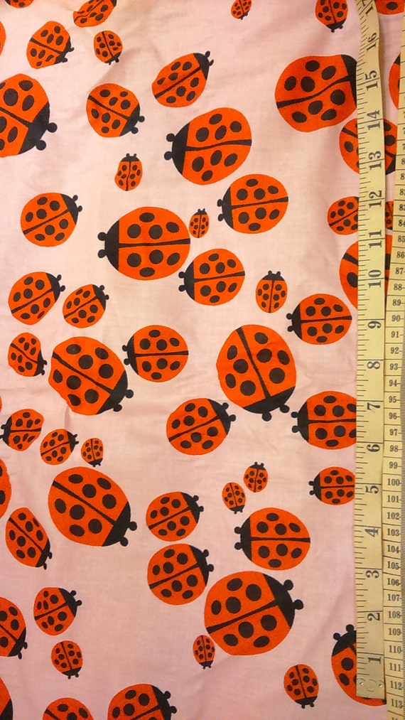 Fabric coral pink red black ladybugs modern kids nursery for Modern kids fabric