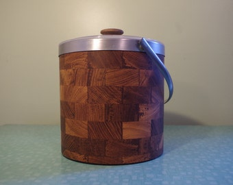 Vintage Faux Wood Vinyl Ice Bucket, Barware, Made in USA