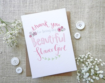 Thank you ~ Flower Girl ~ quirky hand drawn greeting card