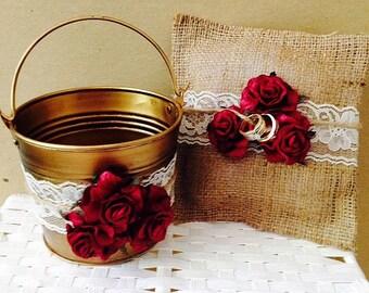 Rustic Flower Girl Basket - Flower Girl Pail - Ring Bearer Pillow - Rustic Wedding - Burgundy Wedding Decor - Burlap Ring Bearer Pillow
