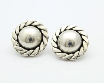 Chunky Vintage Stud Dome Button Earrings in Sterling Silver. [11589]