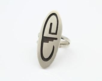 Sterling Silver Hopi Tribal Overlay Long Shield Ring Sz 7.5. [7984]