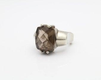 Unusual Vintage Chunky Cushion-Cut Smokey Quartz Ring in Sterling Silver Size 6. [9373]