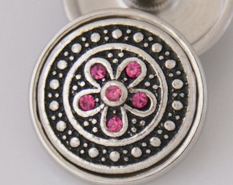 KB3521  Silver and Black Enamel with a Red Crystal Flower in Center