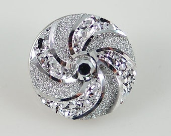 NEW! KB2285 3D Sparkly Crystal Resin Snap Set in Silver