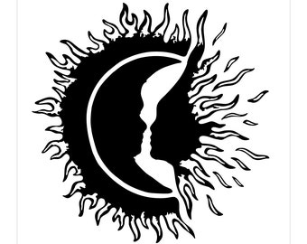 Sun And Crescent With Fire Decal sticker tribal flames AB21