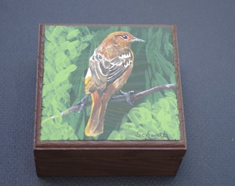 Tea box - hand painted, Baltimore Oriole