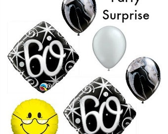 60th Balloons, 60th anniversary balloons, 60th birthday balloons, 60 balloon grandpa grandma