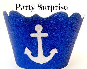Anchor Cupcake Wrappers Nautical Party Cupcake Anchors Baby Shower 1st Birthday Party Anchor Nautical Party Cupcake Wrappers