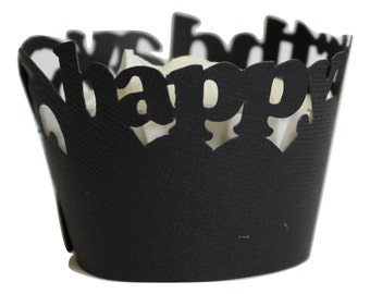 Black Happy-birthday Cupcake Wrappers, Set of 12