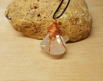 Raw Apophyllite pendant. Crystal Reiki jewelry. Crystal pyramid. Copper Wire wrapped pendant uk